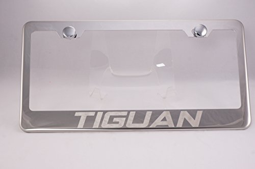 Volkswagen Tiguan Laser Engraved Chrome License Plate Frame with Caps