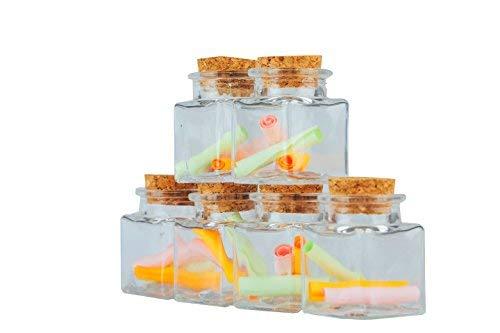 JingleBells Mini Square Glass Jar with Cork Lid,Pack of 12 by JingleBells