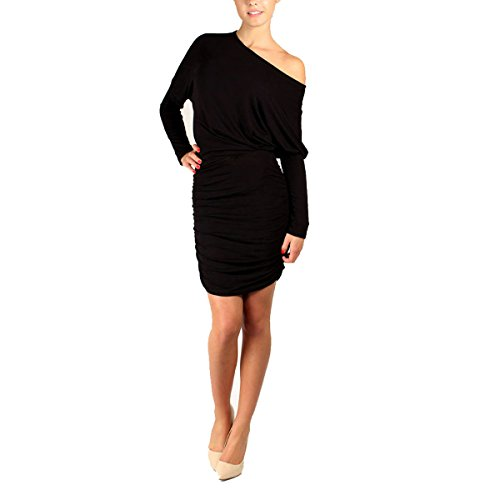 Shirred Short Dress Cocktail Dress - Anxihanee Women's One Shoulder Ruched Bat Long Sleeves Cocktail Party Club Bodycon Mini Dress (S, Black)