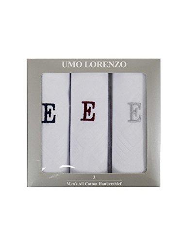 Men's 3 PC 100% Cotton Monogrammed Handkerchiefs Initial Letter Hanky by Dapper World