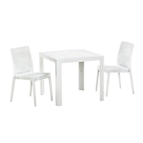 【ガーデンテーブル チェア セット ラタン調 庭 テラス】ステラテーブルチェア3点セット ホワイト(BF-016-3A-S3) B01C453HV2 ホワイト ホワイト
