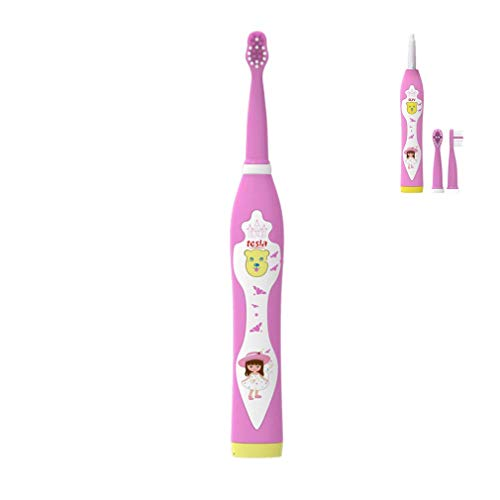 WLDD Waterproof Rechargeable USB Soft Bristle Funny Cartoon Singing Music Sonic Kids Electric Tooth Brush With Timer Children Blue Boy Red Girl,Red (color : Pink)