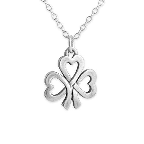 Lucky Shamrock Pendant - Azaggi Sterling Silver Handcrafted Heart Shamrock Lucky Necklace (18)