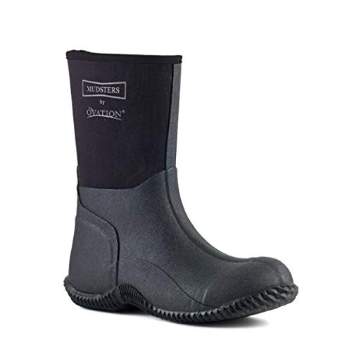 Ovation Mudster Mid Calf 9 inches Height Barn Rubber Boots, Black/Black/Grey, 41 (10-10.5 -