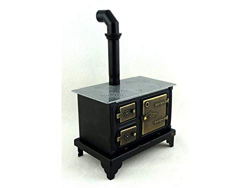 - Melody Jane Dolls Houses House Miniature Kitchen Furniture Old Fashioned Black Range Cooker Stove