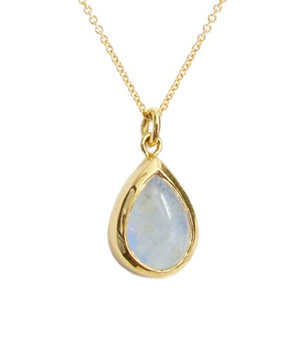 Gold Moonstone Necklace, Rainbow Moonstone Necklace, 14k Gold Moonstone Pendant, June Birthstone, Moonstone Teardrop by Lili Klein Jewelry