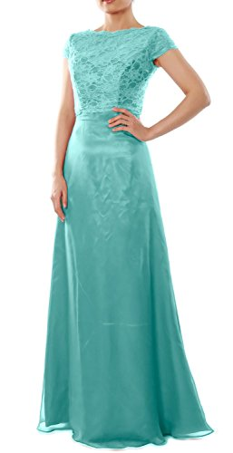 MACloth Women Cap Sleeve Long Bridesmaid Dress Wedding Party Gown with Jacket (20w, Turquoise)