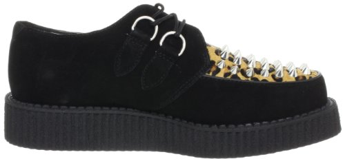 T.u.k. Shoes Mondo Lo Creeper With Cone Studs, Unisex-Erwachsene Sneakers Schwarz (black & Leo Print)