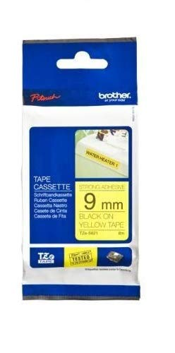 Brother Tape, Retail Packaging, 3/8 Inch, Black on Yellow (TZeS621) - Retail Packaging ()