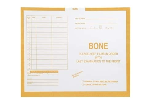 Category Insert X-Ray Film Jacket - Bone, Open Top, Yellow, 14-1/4