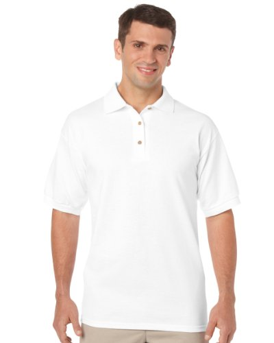 Gildan Adult DryBlend Jersey Short Sleeve Polo Shirt (XL) (White)