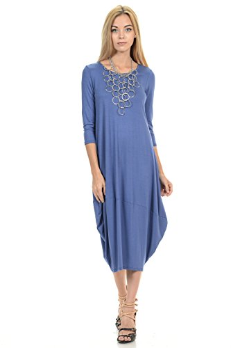 Pastel by Vivienne Women's Cocoon Midi Dress Large Denim