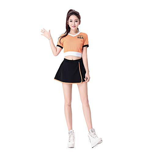 Ladies' Sexy Cheerleading Costumes, Role-Playing Motorcycle Suits, Uniform Fancy Costumes for Stage Performances, Suitable for Glee Choir/Jazz Dance DS Group Costumes/Female Ball Costumes ZDDAB -