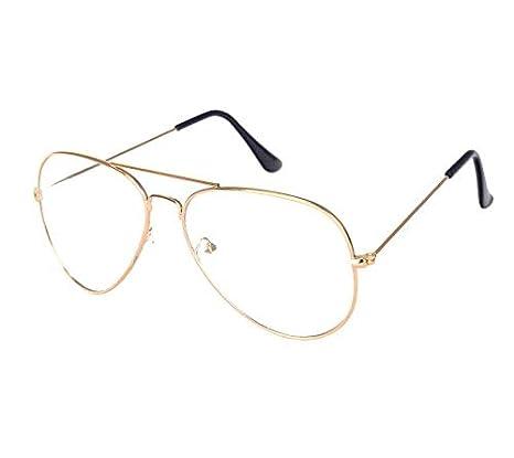 d71feb6cd Aviator Metal Frame Flat Light Glasses Gold Big Frame Driving Eyewear:  Amazon.ae: TOEON