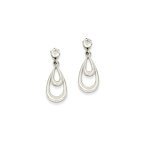 Roy Rose Jewelry 14K White Gold Polished w/CZ Stud Earring Jackets by Roy Rose Jewelry