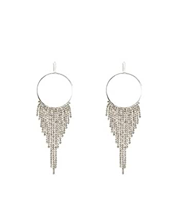 Colette Hayman - Diamante Tassel Chain Circle Earrings