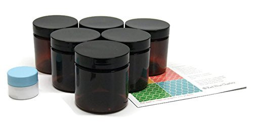 Amber 4 oz Plastic Jars with Black Lids 6 pk with Mini Jar – PET Round Refillable Containers
