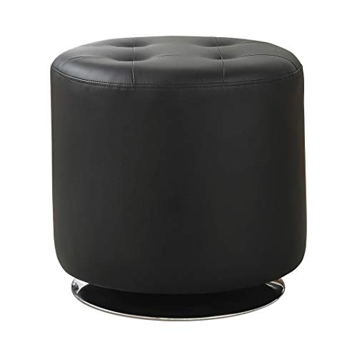 Coaster Home Furnishings Round Upholstered Ottoman Black