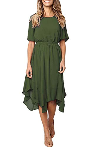 bca8192f41f6 ECOWISH Women's Dresses Casual Chiffon Irregular Hem Short Sleeve Round  Neck Swing Pleated Dress