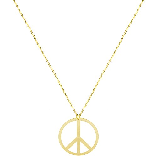 Gold Peace Sign Necklace - 1