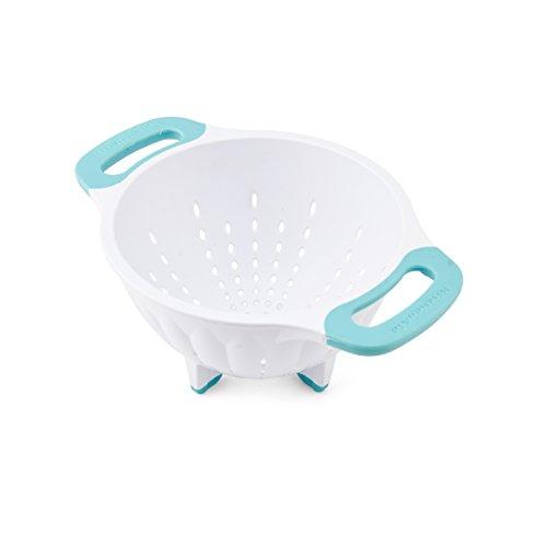KitchenAid Plastic Colander/Strainer, 1.5-Quart, White/Aqua Sky