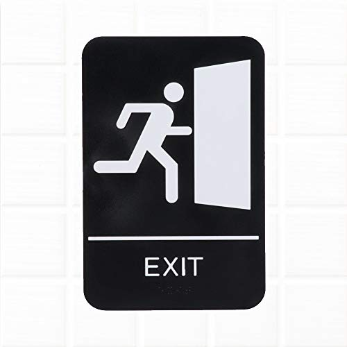 Exit Sign with Braille for Door/Wall - Black and White, 9 x 6-Inches ADA Compliant Exit Sign, ADA Compliance Signs by Tezzorio