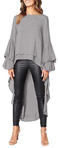 Jyccr Women Casual Long Sleeve High Low Tunic Top Asymmetrical Hem Chiffon Blouse(Gray, ()