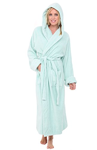 Alexander Del Rossa Womens Turkish Terry Cloth Robe, Long Cotton Hooded Bathrobe, Small Medium Sea Foam (A0127SFMMD)
