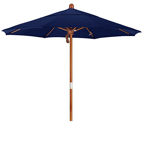 (California Umbrella 7.5' Round Hardwood Frame Market Umbrella, Stainless Steel Hardware, Push Open, Pacifica Navy Blue )