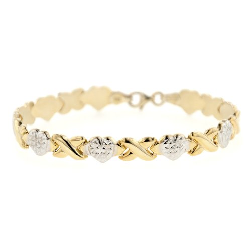 MCS Jewelry 14 Karat Two Tone Stampato XOXO Friendship & Relationship Chain Bracelet (Gold Womens Stampato Bracelet)