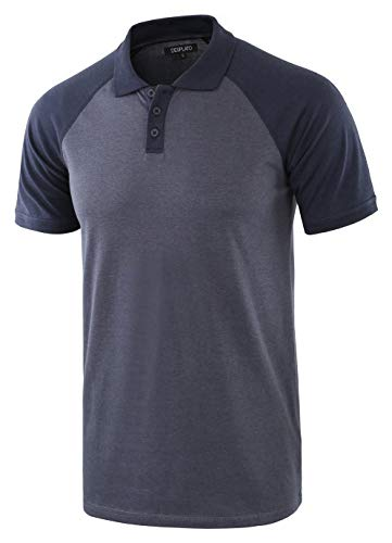 - DESPLATO Men Casual Basic Active Short Raglan Sleeve Jersey Henley Polo T Shirt Cadet Blue/Navy L