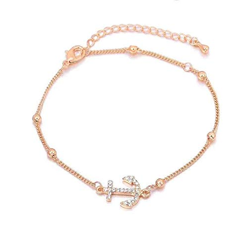 HoBST Women Rose Gold Foot Jewelry Adjustable Anchor Anklet Beach Chain Ankle Bracelet for Girl (Rose Gold Anchor Jewelry)