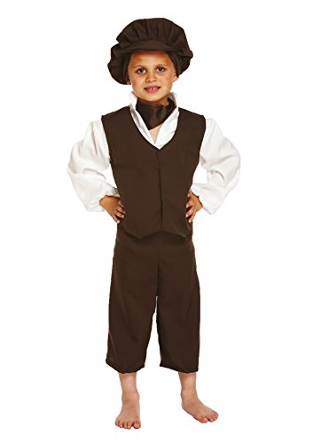 Glossy Look Big Boys' Victorian Outfit Fancy Dress Book Day Costume Medium (7-9 Years) White -