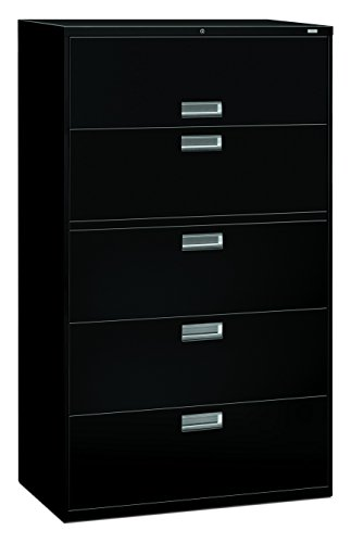 HON 5-Drawer Filing Cabinet - 600 Series Lateral or Legal Filing Cabinet, 42w by 19-1/4d, 5-Drawer, Black (H695) ()