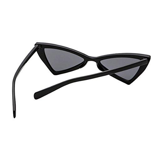 Negro de ojo las de Gris Gafas Bisagras de Inlefen Triángulo metal de sol metal de Hombres gato mujeres de 5488qnTwU