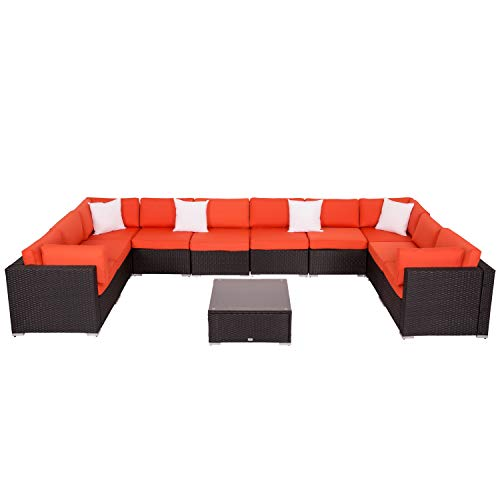 Patio Furniture Sets All-Weather Outdoor Sectional Sofa Wicker Rattan Patio Conversation Set (11 Pieces, Orange) ()