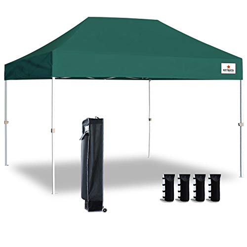 Keymaya 10'x15' Ez Pop Up Canopy Tent Commercial Instant Shelter Canopies Bonus Heavy Duty Weight Bag 4-pc Pack (Forest Green)
