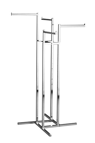 Clothing Rack - Heavy Duty Chrome 4 Way Rack, Adjustable Height Arms, Square Tubing, Perfect for Clothing Store Display With 4 Straight Arms
