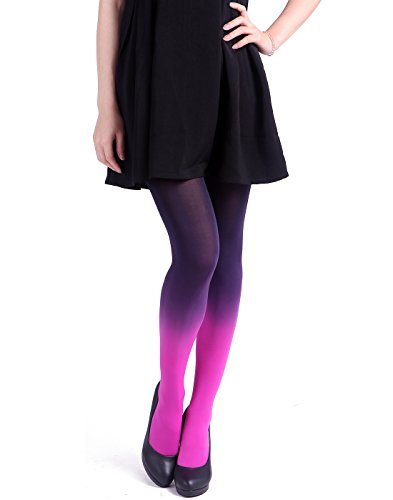 HDE Women's Solid Gradient Color Stockings Opaque Microfiber Footed Tights (Purple to Pink)