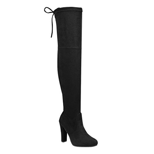 Women's Over Knee High Block Chunky Heel Thigh Heel Faux Suede Boots (Black-C) by SNJ (Image #4)