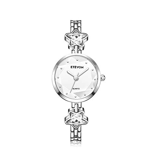 ETEVON Women's 'Stellate Glass' Design Dial Quartz Analog with Silver-Tone Bracelet and Star-Shape Crystal, Simple Fashion Dress Wrist Watches for Girls Women-White