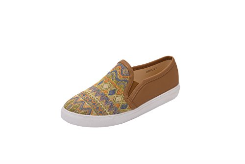 GREENS CORRNELIA Women Canvas Slip On Tribal Pattern Fashion Sneakers, Camel
