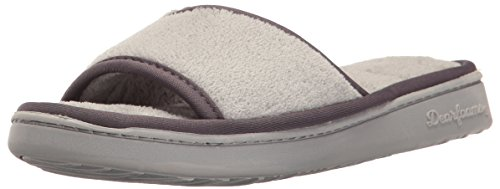 Dearfoams Women's Microfiber Terry Open Toe Scuff Slipper Sleet JtgETbbK