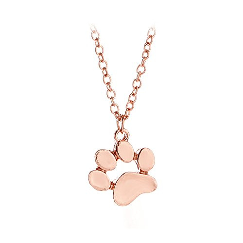AOCHEE Cute Puppy Dog Paw Print Pendant Hollow Heart Footprint Necklace Memorial Jewelry (Rose Gold-1)