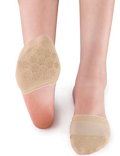 VERO MONTE 6 Pairs Womens Toe Topper Socks - No Show Half Socks (Black & Skin, 6-9) 46131