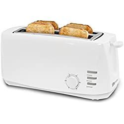 "Elite Cuisine ECT-4829 Long Cool Touch Toaster with Extra Wide 1.5"" Slots for Bagels and Specialty Breads, 4 Slices, White"