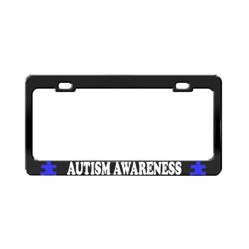 Nice AUTISM AWARENESS TAG LICENSE PLATE FRAME CAR ACCESSORIES BLACK STEEL hot sale