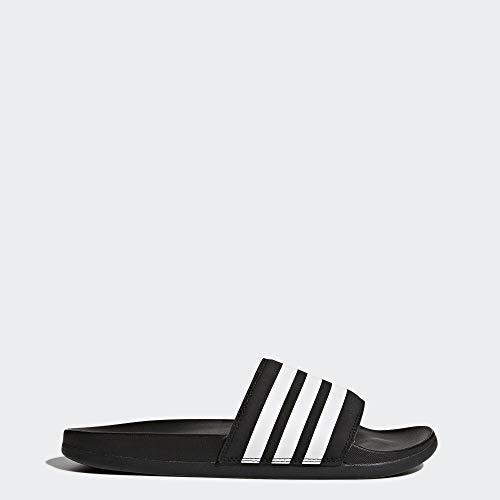adidas Women's Adilette Comfort Slide Sandal, White/Black, 7 M US