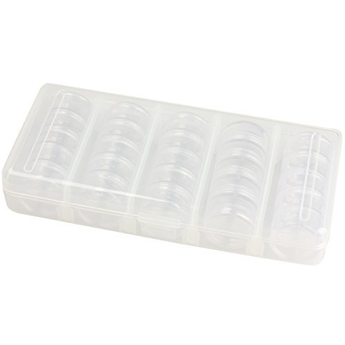 (Vktech® Nail Art Tip Sequin Drill Storage Box Case Organizer Empty 25 Compartments)