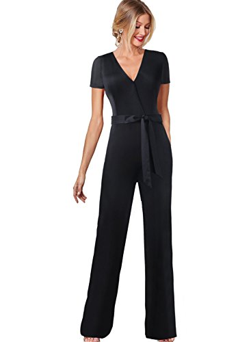 VFSHOW Womens V Neck Pockets Belted Wide Leg Casual Rompers Jumpsuits 645 BLK XL by VFSHOW